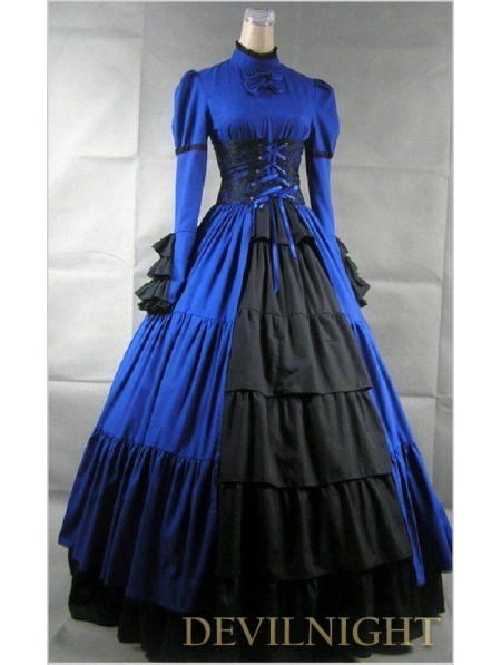 Blue and Black Long Sleeves Masquerade Gothic Ball Gowns