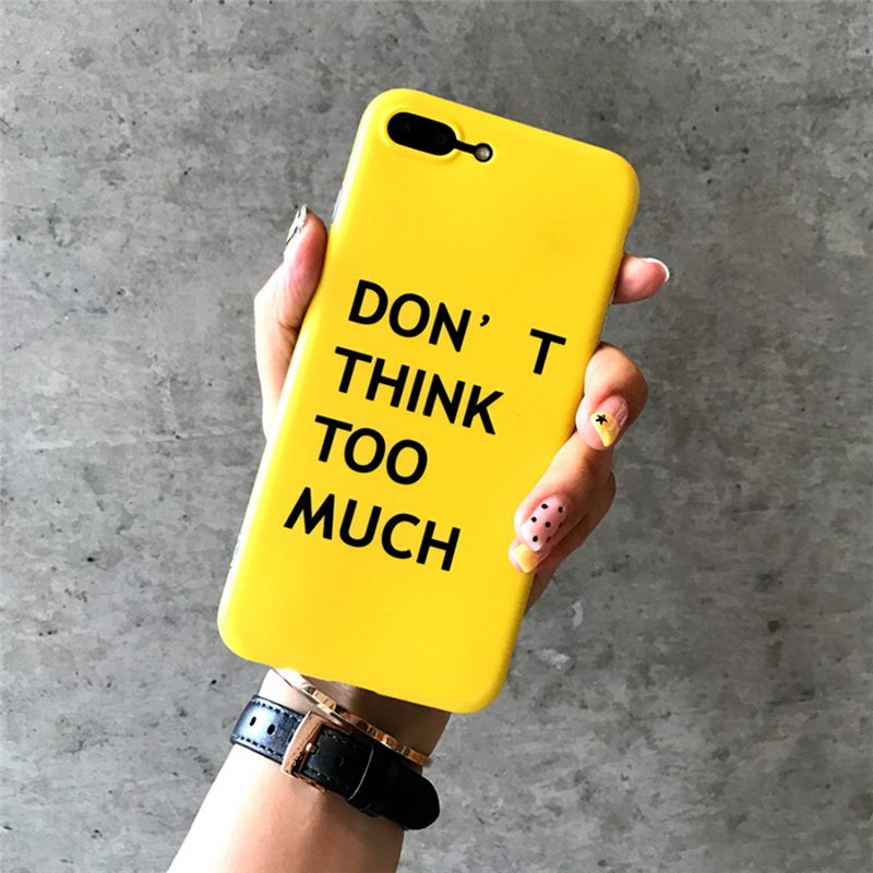 9e330109c1c36 Banjolu New Yellow IMD Phone Bag Cases for iPhone 7 8 X 6 6s Plus Soft TPU  Back Cover don t think too much Phone Case Shell