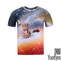 Youreyes 2016 New Fashion Harajuku Men Women T Shirt 3d Print Cat Galaxy T Shirt Summer