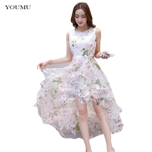 Womens Beach Irregular Dress Sleeveless Bubble Lace Double Layer Flower Prom Party Dress 223-159