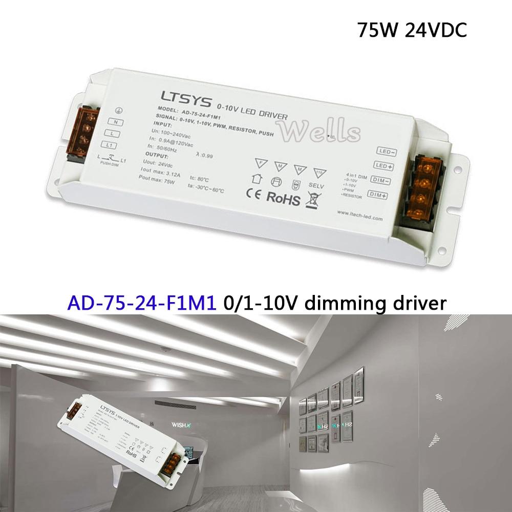 Free Shipping 75W CV Led Driver;AD-75-24-F1M1;AC100-240V input;24V/3.1A/75W output 0/1-10V led dimming driver цена и фото