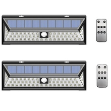 2 Pack/lot 54/90 LED Solar Wall Light Outdoor Garden Lamp PIR Motion Sensor Three Modes Remote Control Waterproof Luces Solares