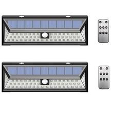 2 paket/grup 54/90 LED güneş duvar lambası dış mekan bahçe lambası PIR hareket sensörü üç modları uzaktan kumanda su geçirmez Luces Solares