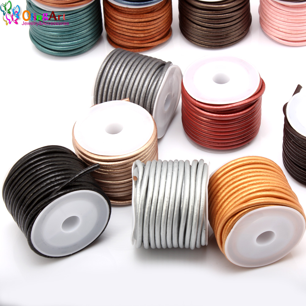 OlingArt 3mm 5M lot Multicolor Round Leather Cord Wire earrings Bracelet choker necklace DIY jewelry making in Jewelry Findings Components from Jewelry Accessories