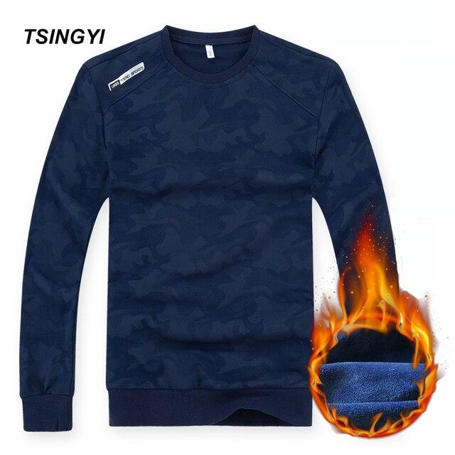 Tsingyi Outono Plus Size 6XL 8XL Camuflagem Homens Moletom Com Capuz de Lã Quente de Manga Longa Streetwear Sweat Homme Mens Camisolas Hoodies