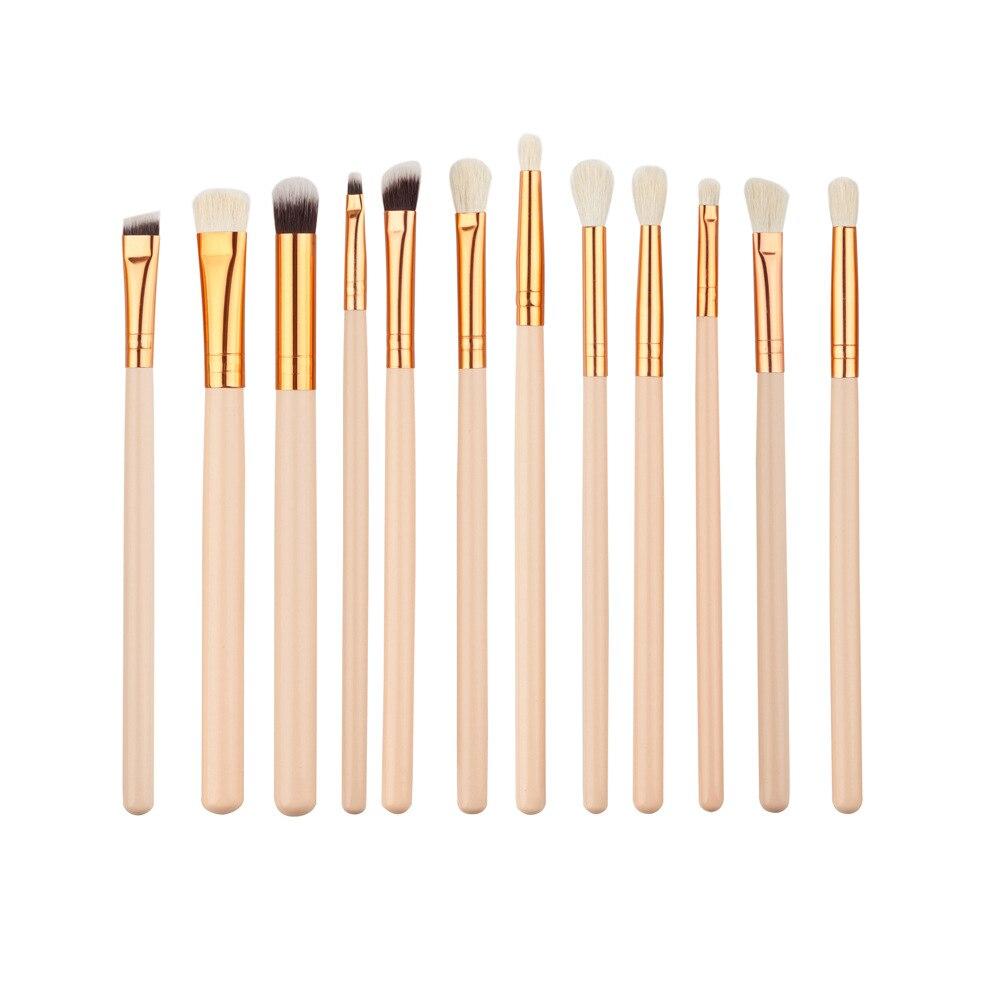 12pc/set Rose Gold Eye Makeup Brush Skin Color Wool Beauty Tool Set Brush 7 makeup brush gold eye face multiple purpose set brush beauty tool