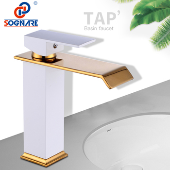 SOGNARE Luxury Waterfall Tap Tall Bathroom Basin Faucet Mixer Water Tap Vessel Sink Faucet Gold and White Faucet Bathroom Taps