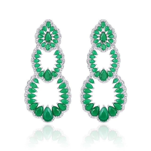 XIUMEIYIZU New Arrival Luxury AAA Women's Big Long Size Green White Blue Cubic Zirconia Dangle Drop Earrings