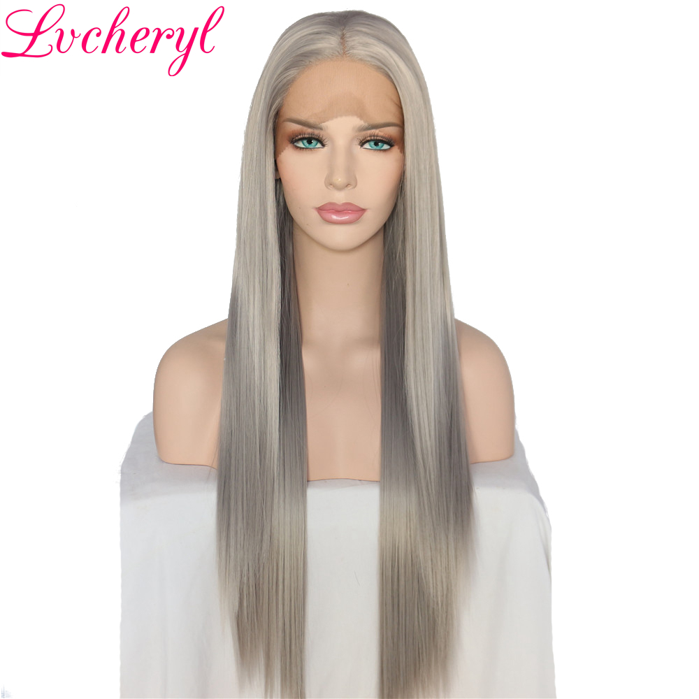 Lvcheryl Hand Tied Natural Long Silky Straight Silver Grey Color High Density Heat Resistant Glueless Synthetic Lace Front Wigs(China)