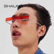 SHAUNA Fashion Half Frame Small Rectangle Sunglasses Women Brand Designer Ins Po