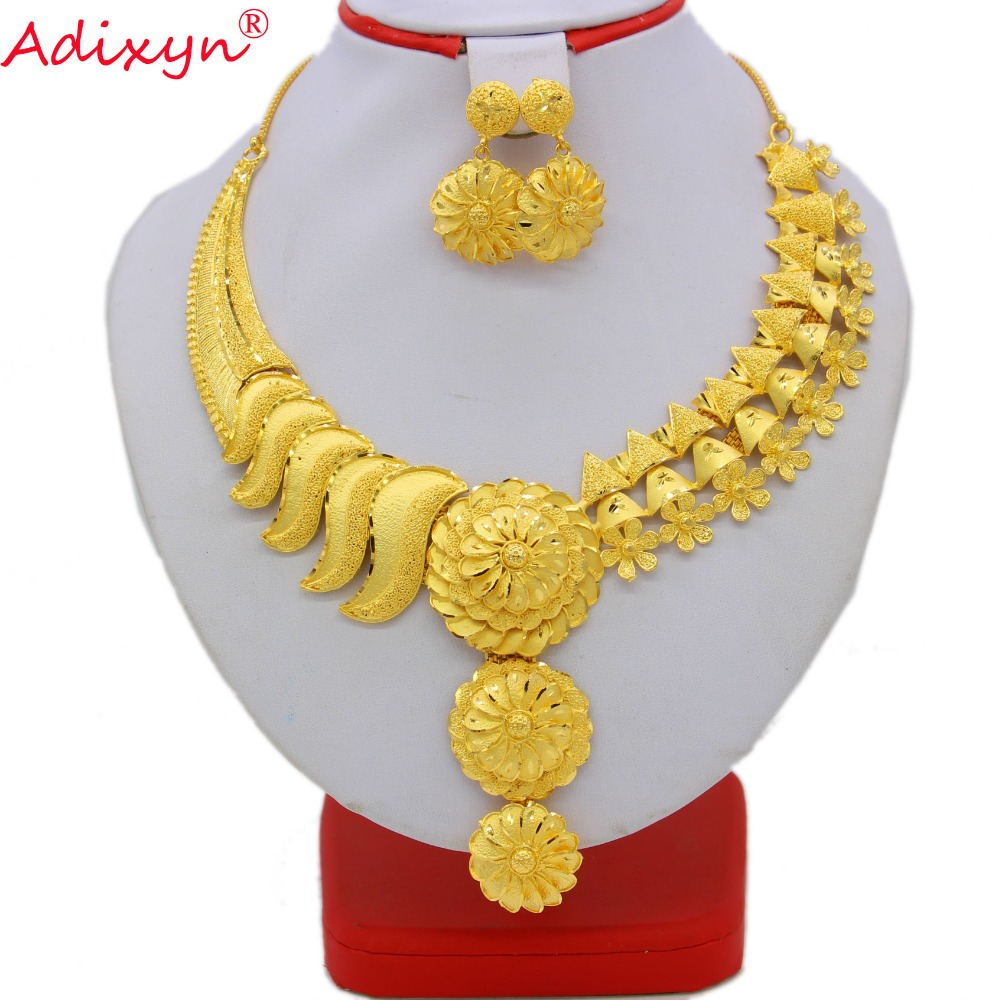 купить Adixyn India Necklace&Earrings Jewelry Set for Women Gold Color /Copper Jewelry African/Ethiopian Bridal Wedding Gifts N08095 недорого