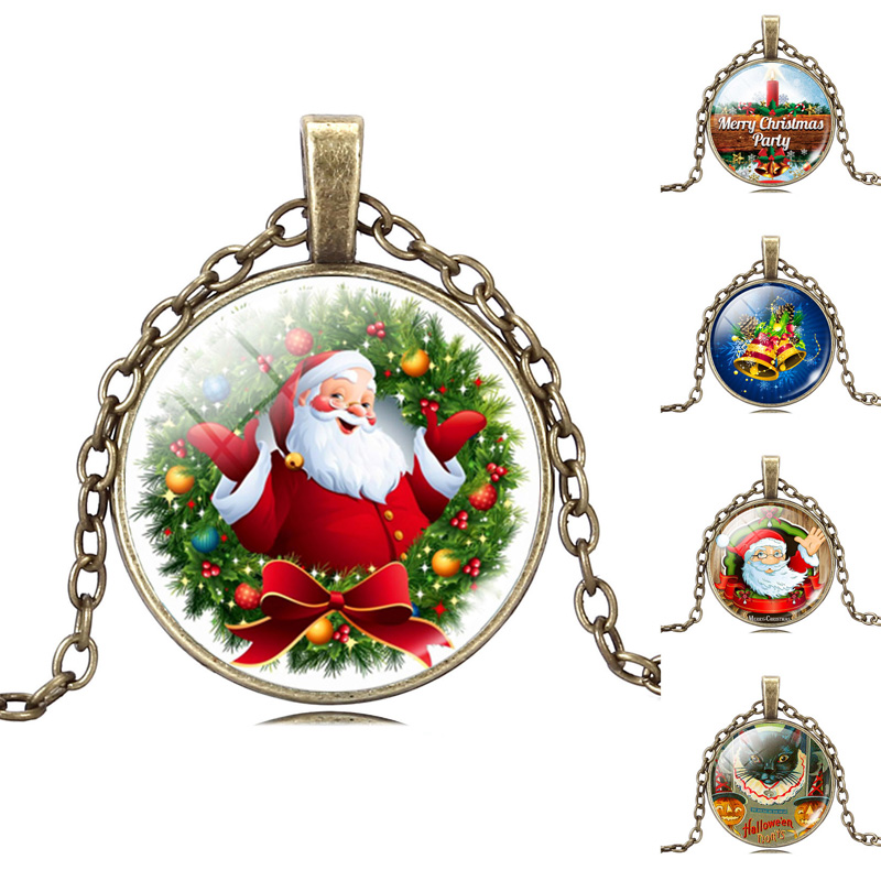 promotion christmas necklace jewelry with charm pendants winter festival santa claus vintage colorful print stock hot sale