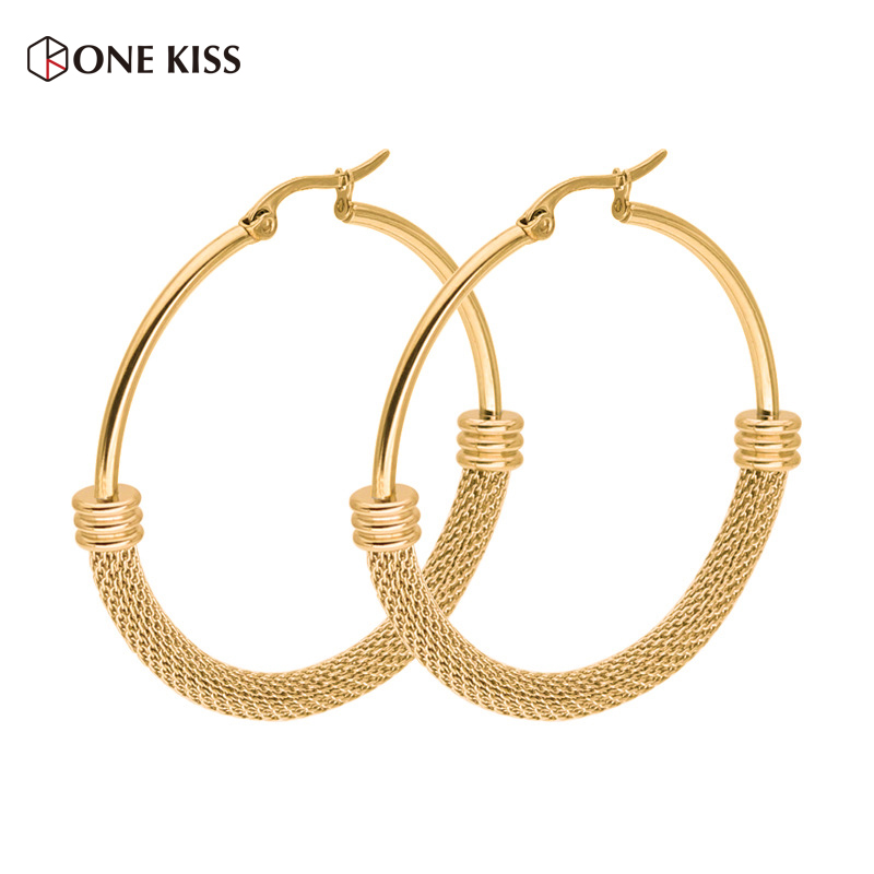 7d9565e33b915 60mm Stainless Steel Geometric Circle Hoop Earrings Gold Color Big Round  Statement Earrings Indian Jewelry Party Wedding