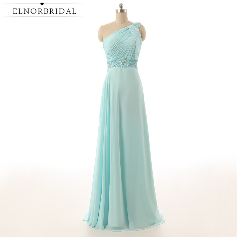 Mint Green   Bridesmaid     Dresses   Cheap 2019 One Shoulder Floor Length Robe Longue Wedding Guest   Dress   Chiffon Maid Of Honor Gowns