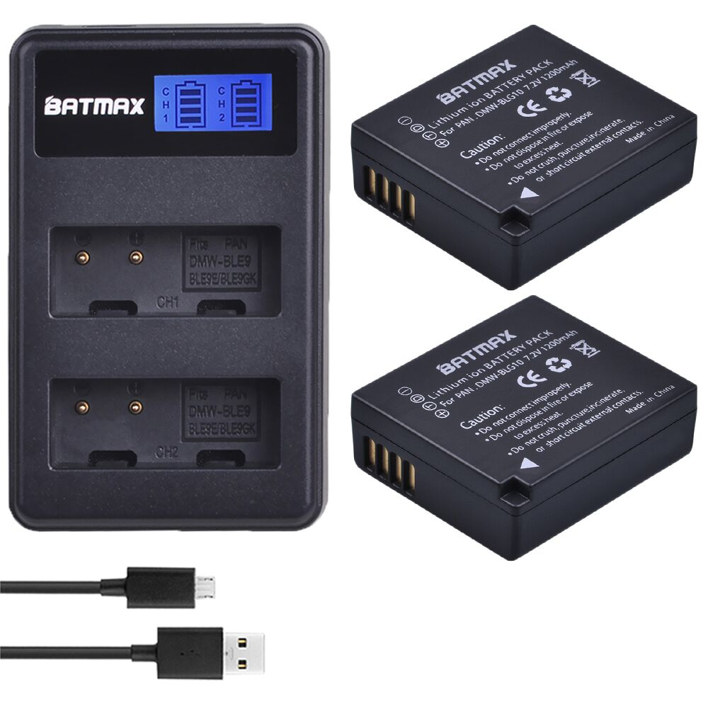 2Pcs 1200mAh DMW-BLG10 BLG10 BLG10E DMW-BLE9  Battery + LCD Dual USB Charger For Panasonic LUMIX GF5 GF6 GX7 LX100 GX80 GX85