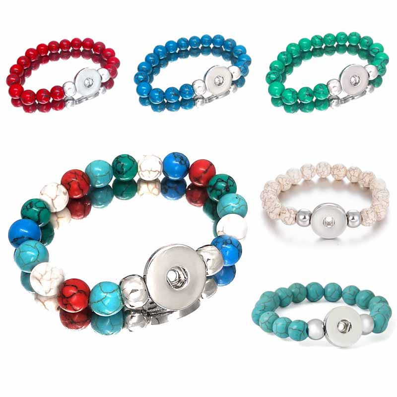 New Arrival 030 Interchangeable Jewelry Candy Colors Expandable Bead Stretch Glass Bead Bracelet Fit 18mm Snap Button Women Gift