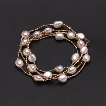 Image 3 - ZHBORUINI High Quality Fashion Long Pearl Necklace Baroque Natural Freshwater Pearl Pearl Jewelry For Women Necklace Accessories-in Necklaces from Jewelry & Accessories