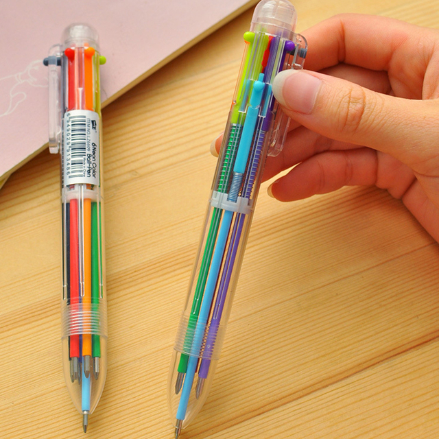 6 in1 New Arrival Novelty Multicolor Ballpoint Pen Multifunction Colorful  Stationery Creative School Supplies