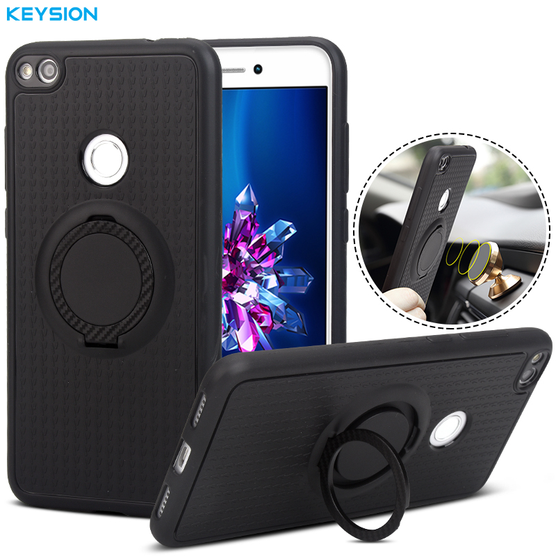 KEYSION Case for Huawei P8/P9 Lite 2017 Car Holder Stand Magnetic Suction Bracket Finger Ring Soft TPU Cover for Honor 8 Lite ...