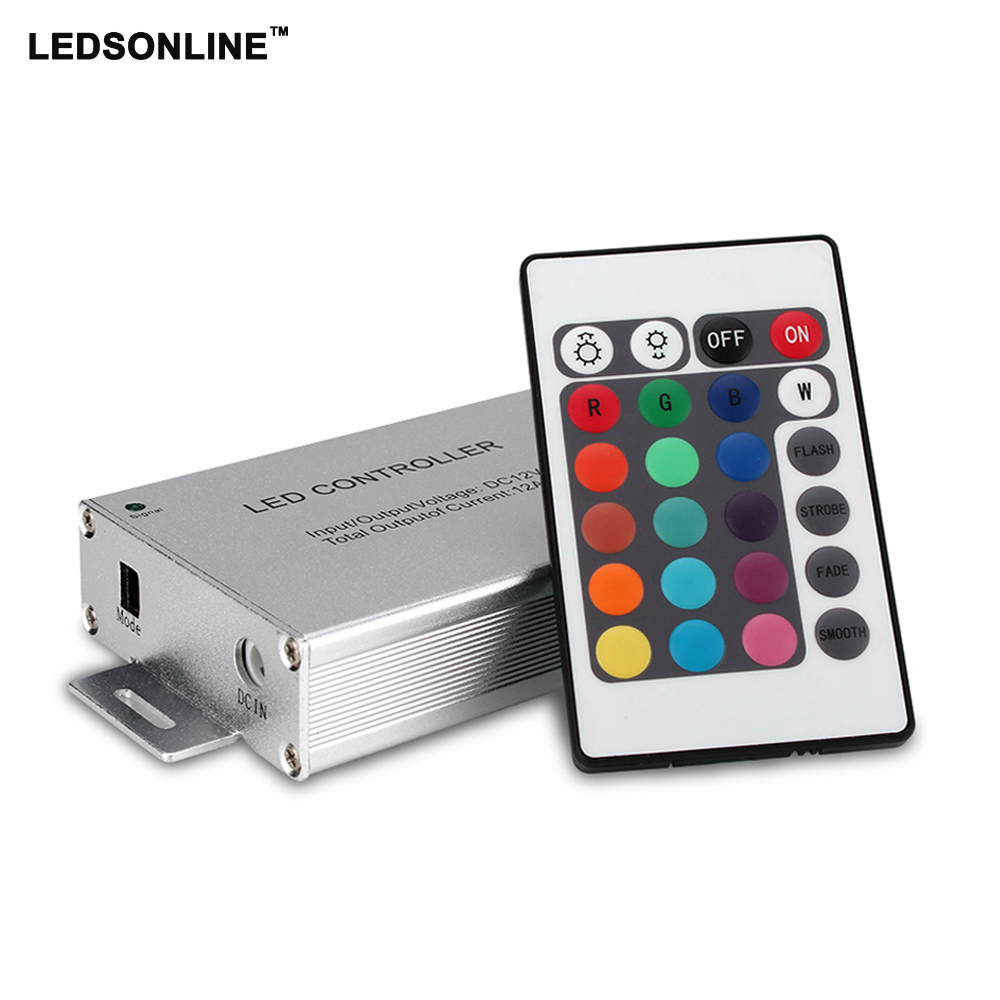 Led Controller 24 / 44 Keys LED IR RGB Controler IR Remote Dimmer DC12V 144W For SMD 3528 5050 10m-20m LED RGB strip led wifi controller 4 0 bluetooth control 5050 rgbw rgb led strip tape 24 keys remote ios android phone light controler dc12v