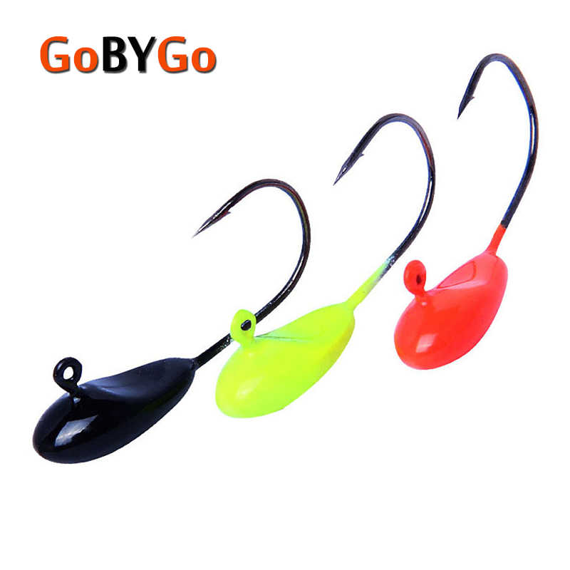 GoByGo 10Pcs/Lot Mini Exposed Lead Jig Head 22mm 1.1g Barbed Hook Soft Lure Jigging Hook Fishing Hooks Fishing Tackle