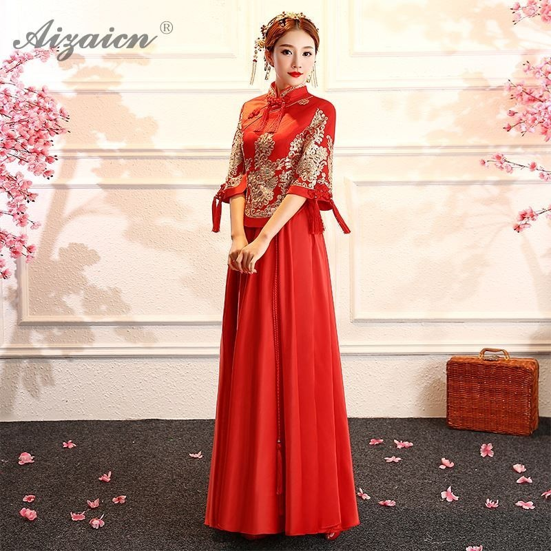 Spring New China Dress Traditional Cheongsam Long Dresses Oriental Style Red Chinese Qipao Robe Chinoise Vintage Qi Pao Gown