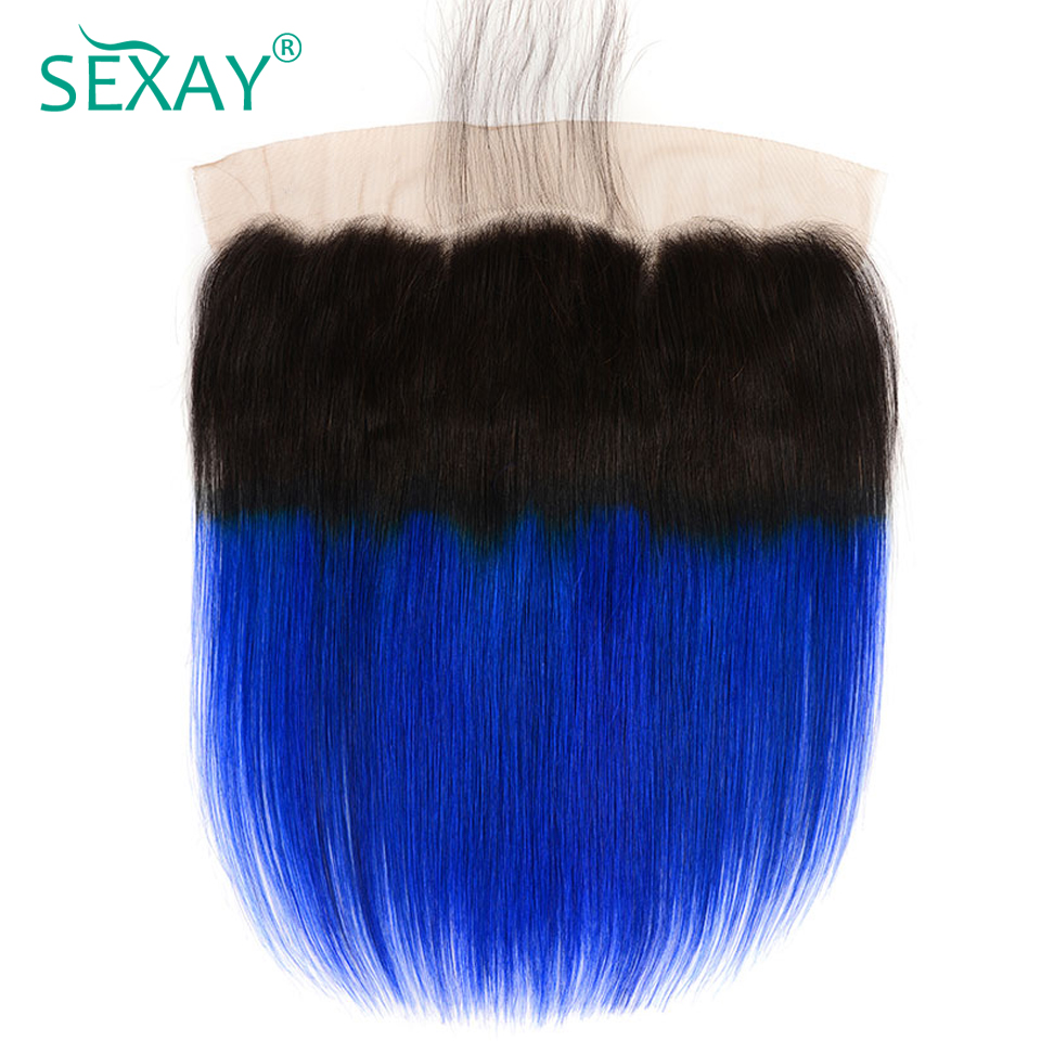 Ear To Ear 13x4 Lace Frontal Closures With Baby Hair Non Remy Hair Two Tone Ombre 1B/Blue Brazilian Straight Human Hair Frontals