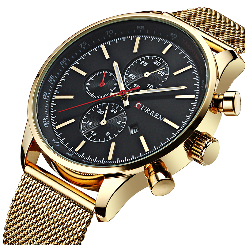цены New CURREN Gold Quartz Watches Men Fashion Casual Top Brand Luxury Wrist Watches Clock Male Military Army Sport Steel Clocks