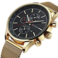 New CURREN Gold Quartz Watches Men Fashion Casual Top Brand Luxury Wrist Watches Clock Male Military