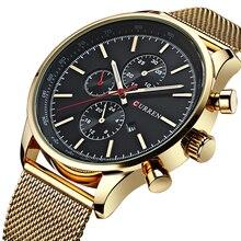 Новый CURREN золотые кварцевые часы Для мужчин модные Повседневное Лидирующий бренд Роскошные наручные часы мужской военный армейский Спорт стальные часы
