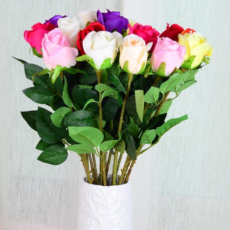 10psc/lot Simulation Single Rose Silk Flower Artificial