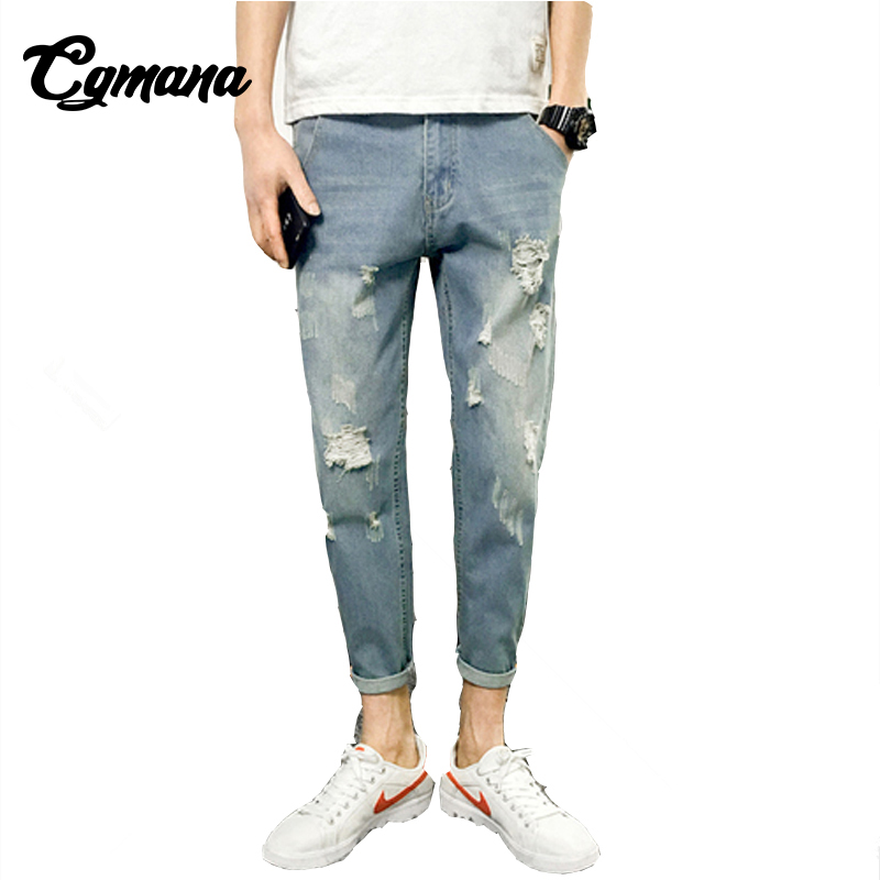 CGmana Jeans Men 2018 Mens Slim Fit Straight Washed Denim Pants Pencil Trousers Casual Jeans Men Hole Jeans Hip Hop Jeans Broken