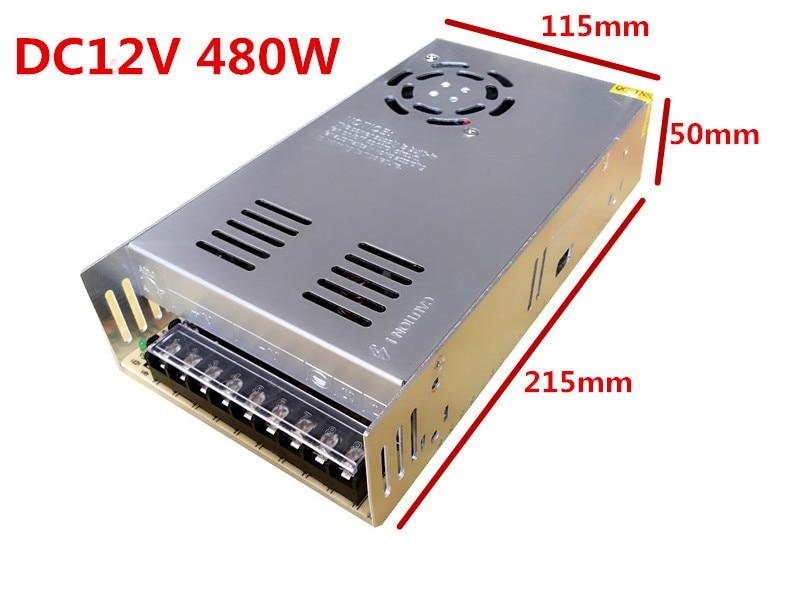 Le nouveau 12 V 40A 480 W commutateur alimentation pilote commutation pour LED affichage de la lumière de bande 220 V/240 V meilleure performance