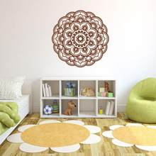 Baru Bunga Mandala India Bedroom Living Room Wall Stiker Decal Seni Mural Rumah #814(China)