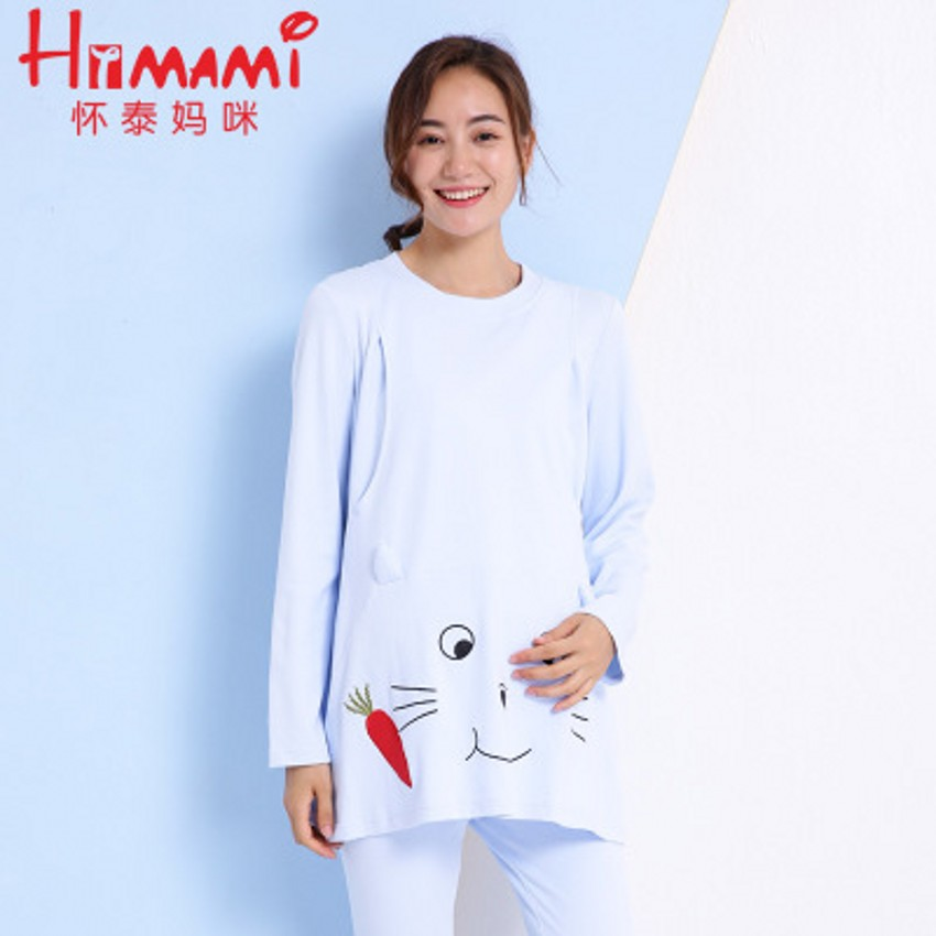 2018 Long Sleeve Postpartum Nursing Pajamas Set Cartoon Patterns Printed Casual Breastfeeding Sleep Lounge Cute