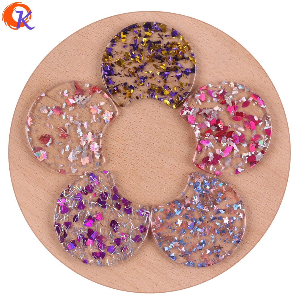 Cordial Design 34*37MM 50Pcs Jewelry Making/Hand Made/Glitter Powder Effect/Round Shape/Earring Accessories/Earring Findings