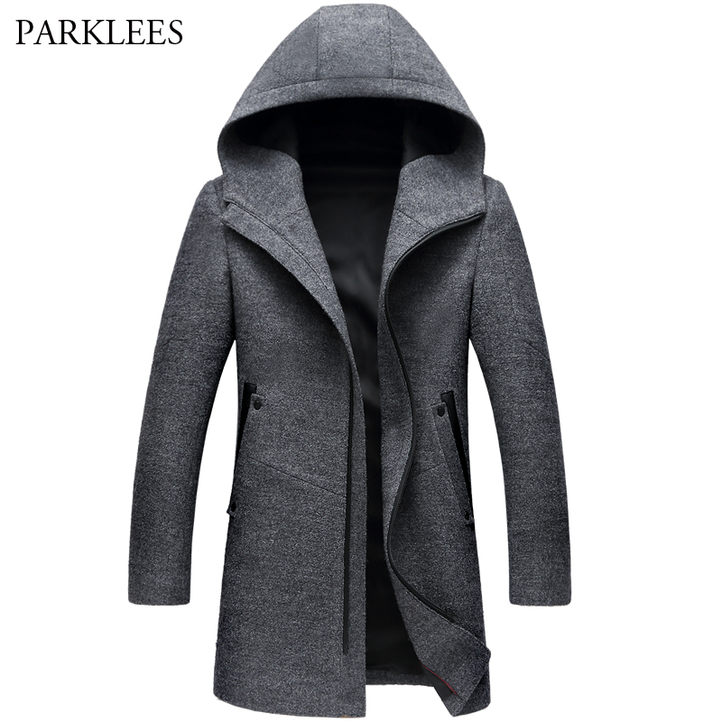 Зимнее длинное Мужское пальто с капюшоном 2017 зимнее повседневное мужское шерстяное пальто с капюшоном на молнии приталенное Мужское пальт...