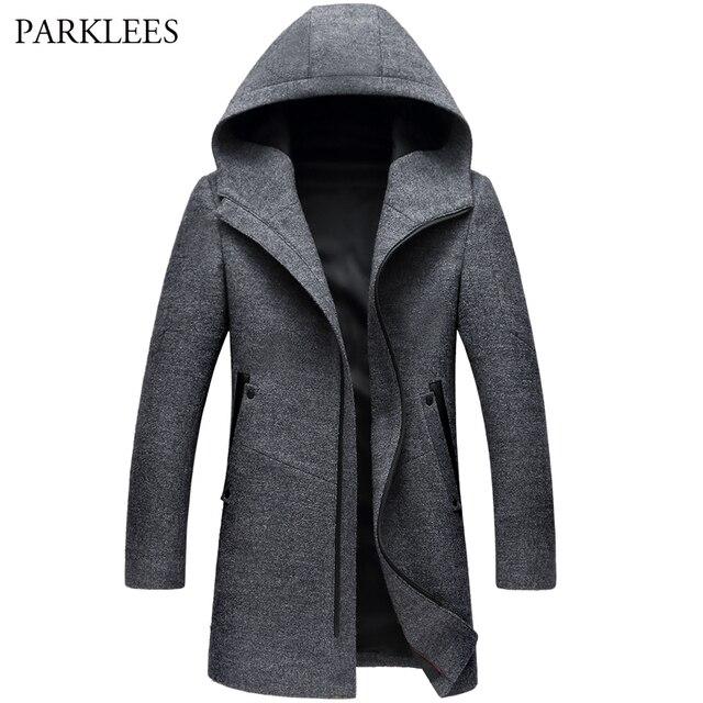 a55f1dca1e520 Abrigo largo con capucha de invierno para hombre 2017 invierno Casual de  lana con capucha gabardina