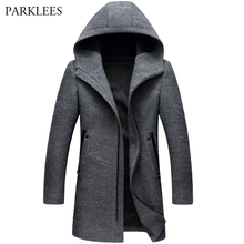 Hoodie Coat Windbreaker Slim-Fit Wool Men's Long Casual Winter Zipper Pea