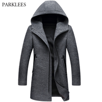 Winter Long Hooded Trench Coat Men 2017 Winter Casual Men's Wool Hoodie Trench Coats Zipper Slim Fit Mens Windbreaker Pea Coat