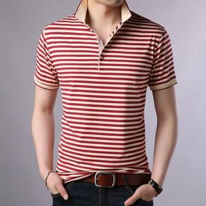 Image 4 - Thoshineブランド夏男性優れたポロシャツ 95% ビスコースファッションストライプポロシャツ通気性因果カミーサターンダウン襟