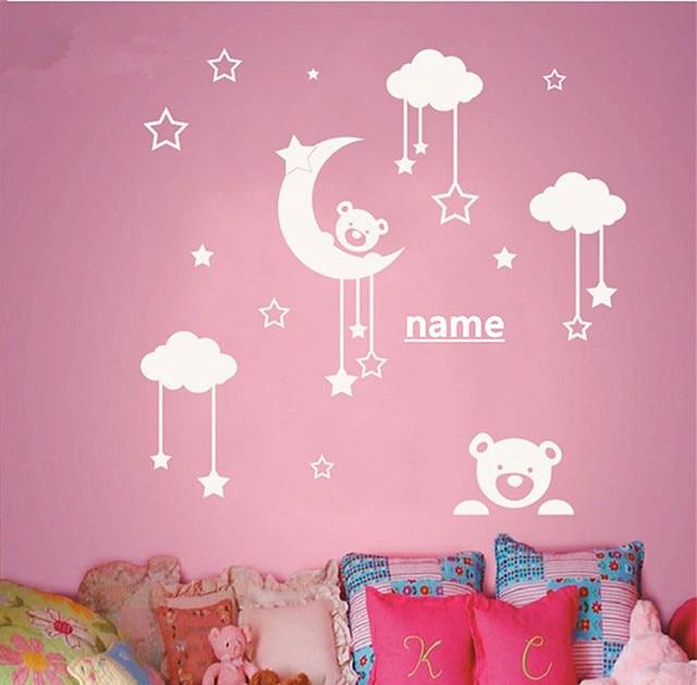 Personalized Name Kids Room Cute Teddy Bear Moon Stars Wall Sticker Baby Nursery Bedroom Art