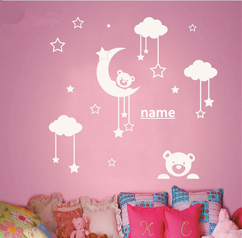 Personalized name Kids Room Cute Teddy Bear Moon Stars Wall Sticker Baby Nursery Bedroom Wall Art Decor Vinyl Decal D-65