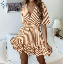 Ameision Vintage striped women V neck ruffle cotton short summer dress 2019 Sexy casual lady female dresses vestido festa цена