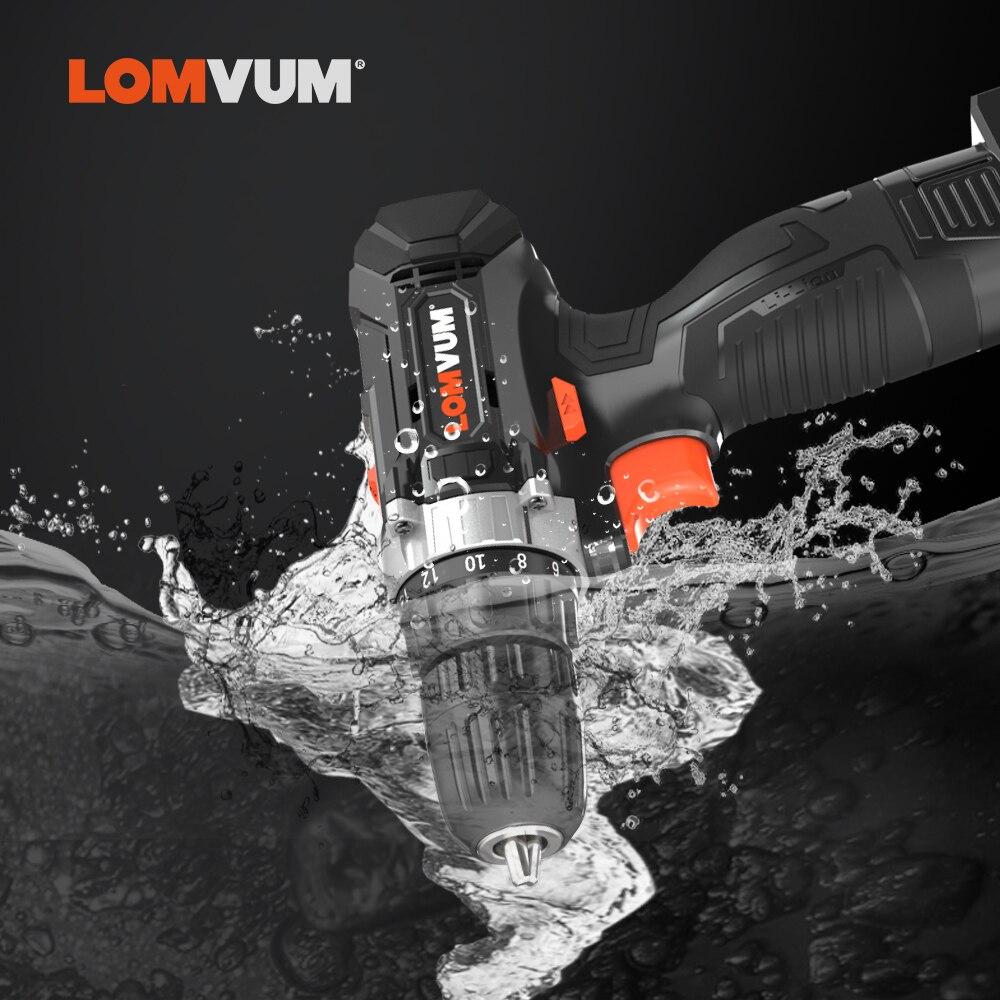Image 3 - LOMVUM цифровая аккумуляторная электрическая дрель, двухскоростная шуруповерт, мощный цифровой дисплей, бытовые электрические дрели-in Электрические сверла from Инструменты
