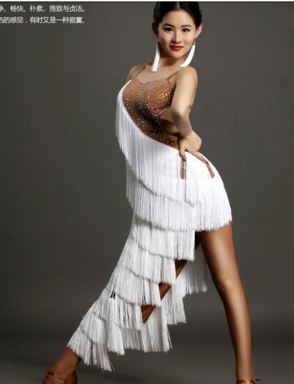 White tassel latin Rumba cha cha salsa tango dance dress S-XXL