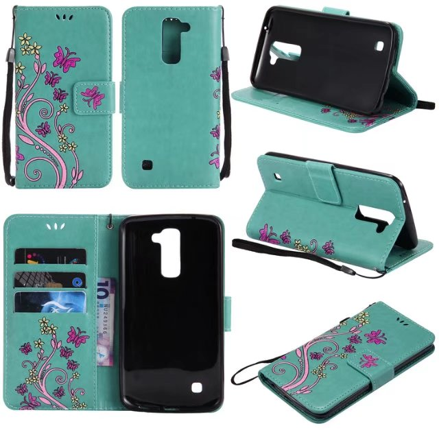 100PCS,2017 New Colorful Embossing Butterfly Flower PU Leather Wallet Case Stand Flip Cover for LG K8 K10 K4 2017 K10 2017 Case