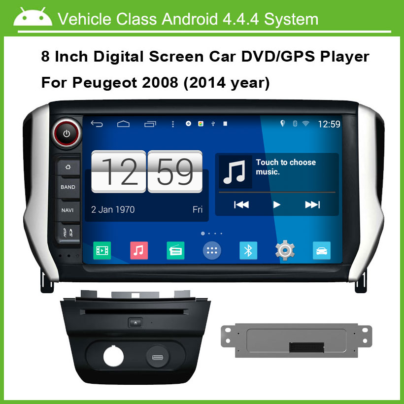 android 4 4 4 car dvd player for peugeot 2008 audio video player multi touch capacitive screen. Black Bedroom Furniture Sets. Home Design Ideas