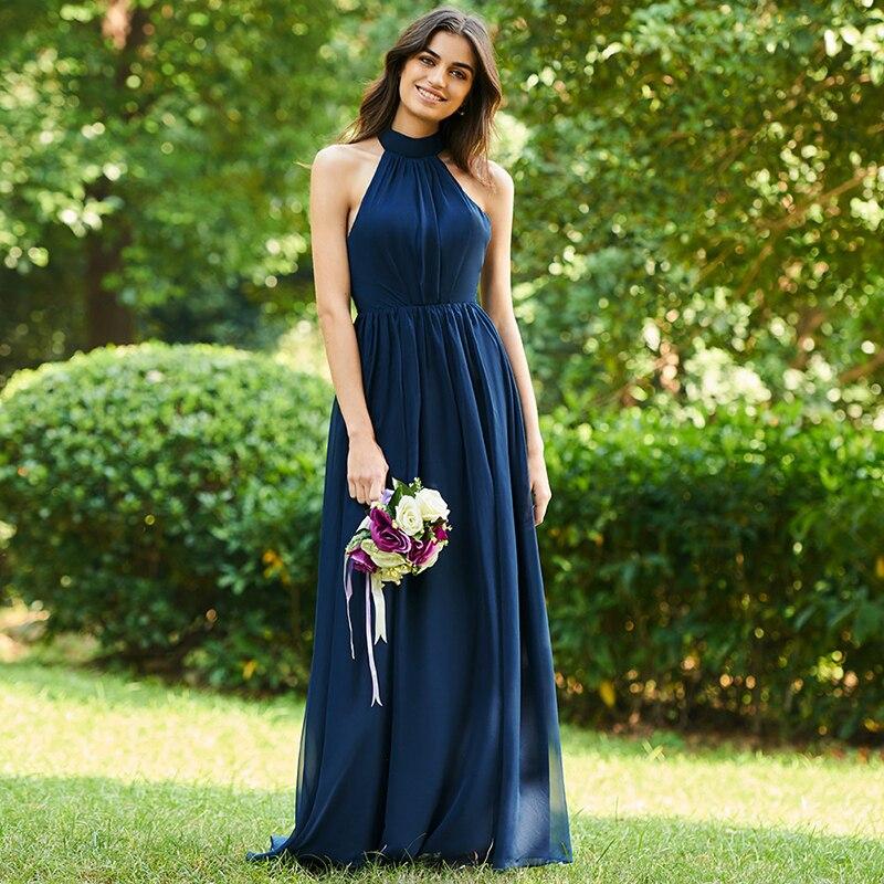 Tanpell halter a line   bridesmaid     dress   dark navy sleeveless floor length gown women graduation party formal   bridesmaid     dresses