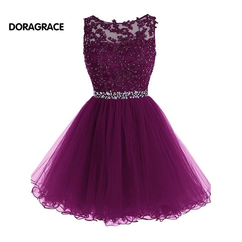 Nouvelle mode appliques perlées Designer robes de Cocktail courtes filles robe de soirée vestido de festa curto DGC015